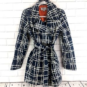 Bamboo Window Pane Tie Waist Navy Trench Coat Sm